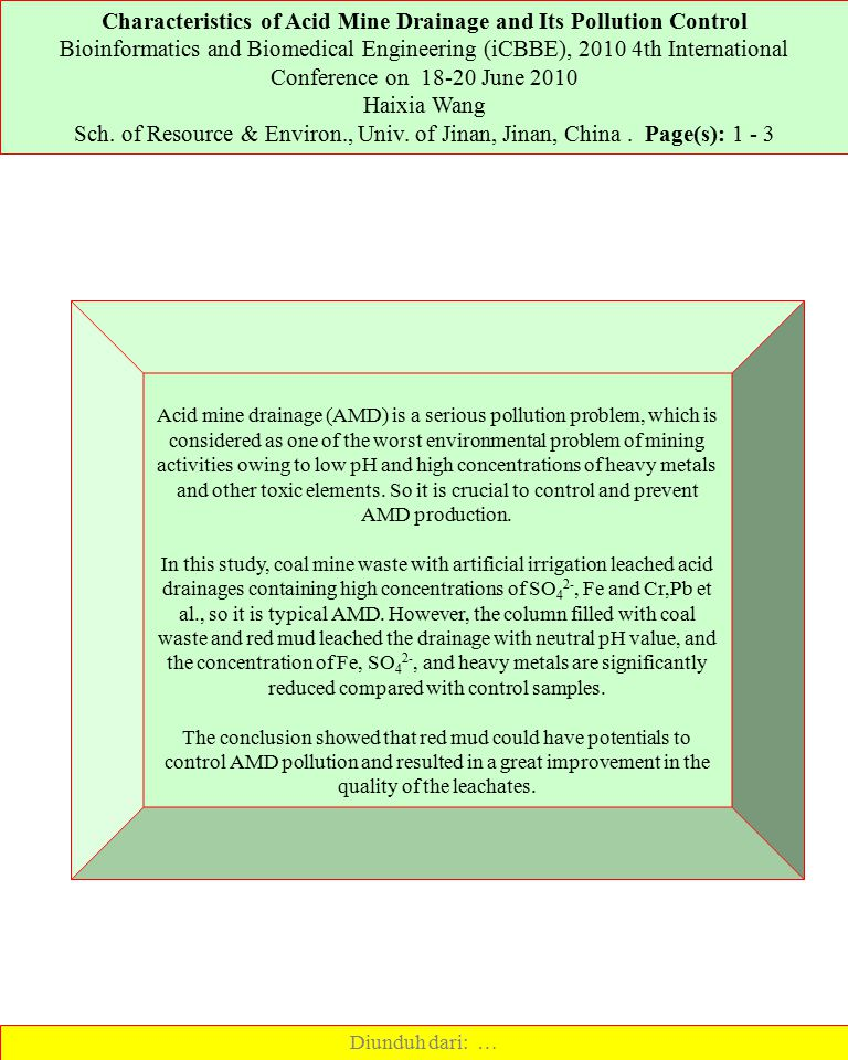 Characteristics of Acid Mine Drainage and Its Pollution Control