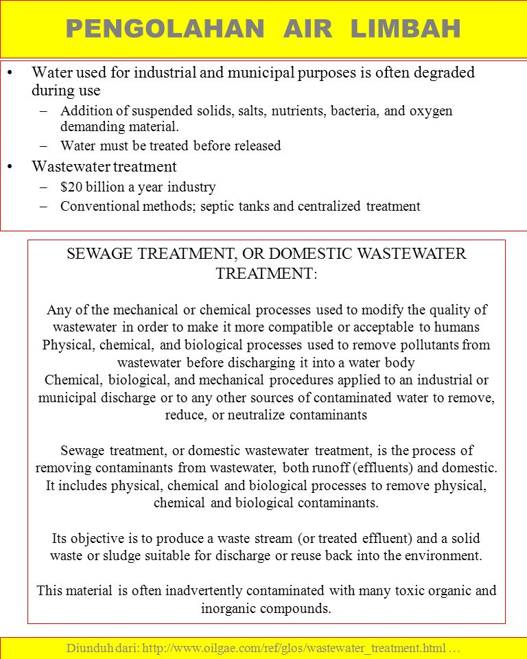 SEWAGE TREATMENT, OR DOMESTIC WASTEWATER TREATMENT: