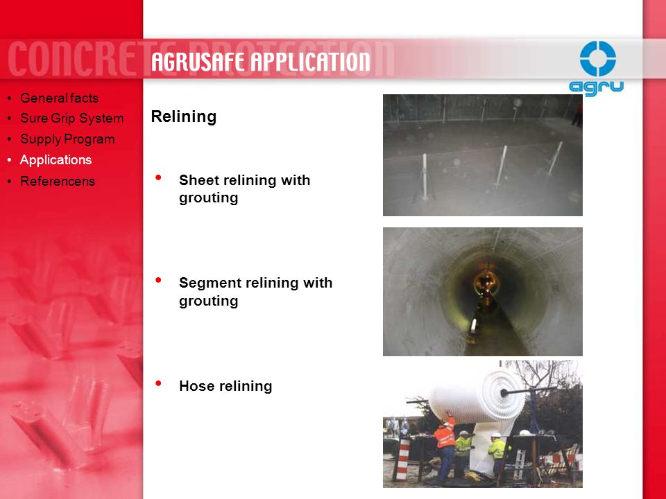 AGRUSAFE APPLICATION Relining Sheet relining with grouting