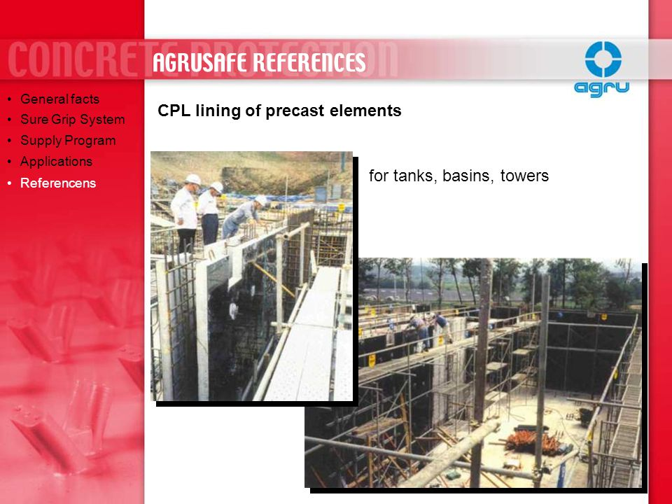 AGRUSAFE REFERENCES CPL lining of precast elements