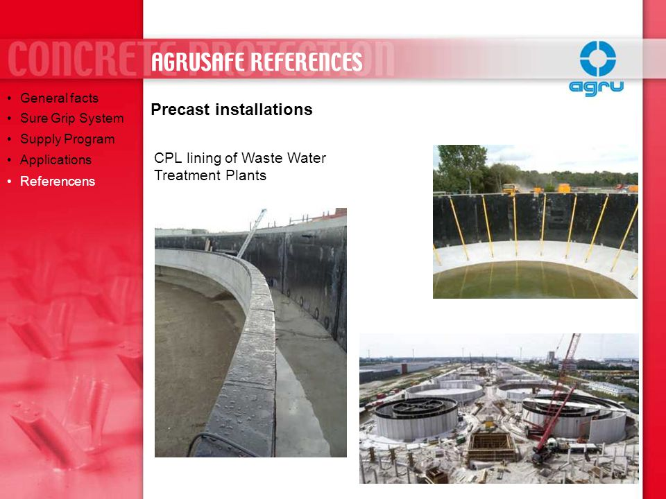 AGRUSAFE REFERENCES Precast installations