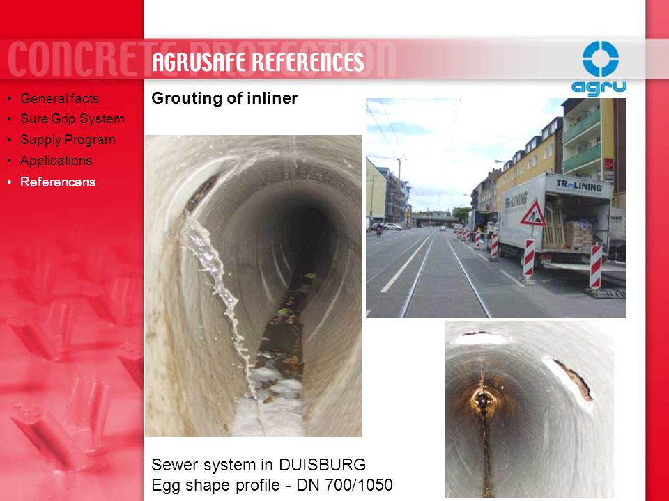 AGRUSAFE REFERENCES Grouting of inliner Sewer system in DUISBURG