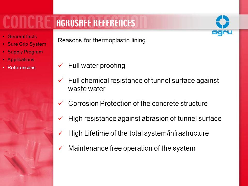 AGRUSAFE REFERENCES Full water proofing