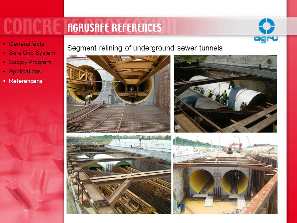 AGRUSAFE REFERENCES Segment relining of underground sewer tunnels