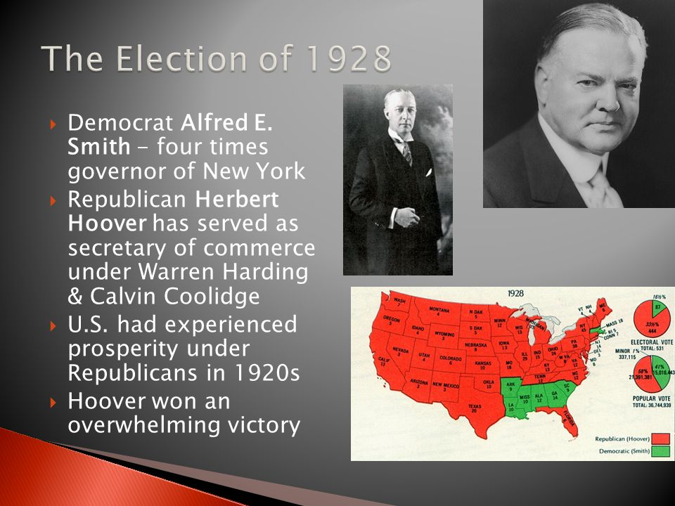 The Election of 1928 Democrat Alfred E. Smith - four times governor of New York.