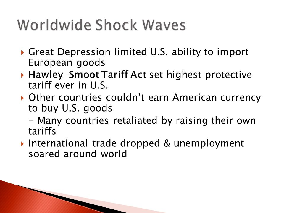 Worldwide Shock Waves Great Depression limited U.S. ability to import European goods.