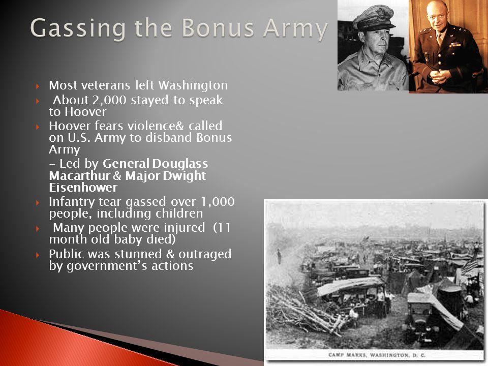 Gassing the Bonus Army Most veterans left Washington