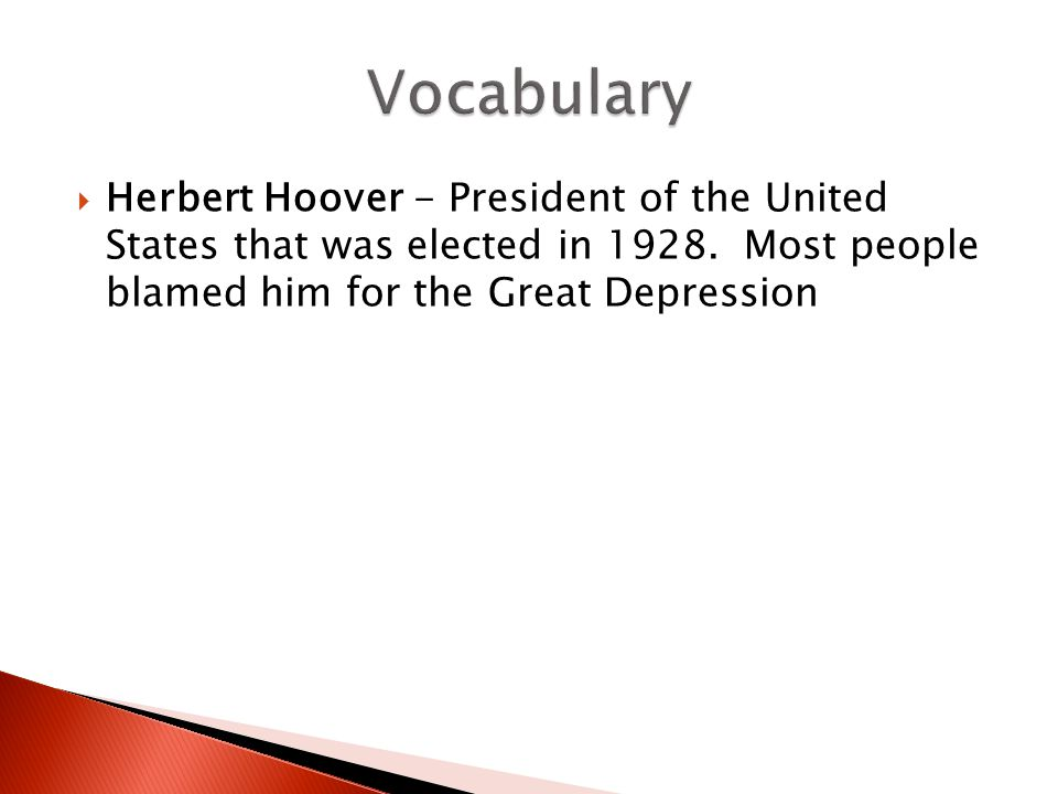 Vocabulary Herbert Hoover - President of the United States that was elected in 1928.