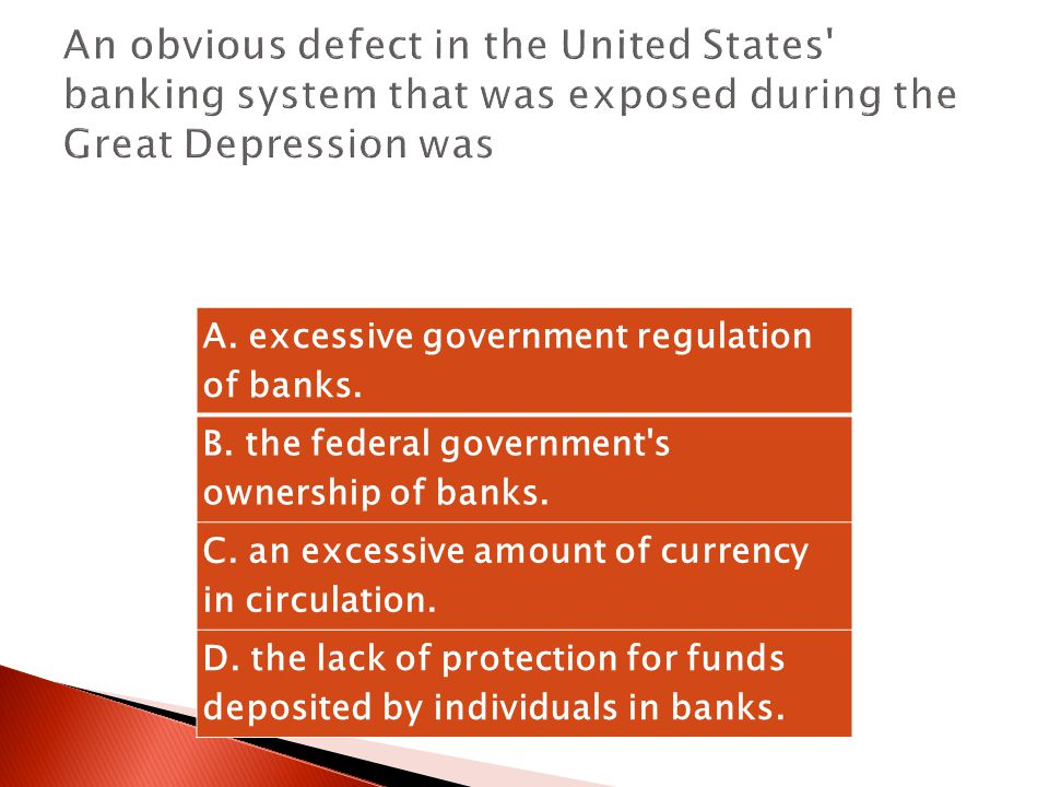 An obvious defect in the United States banking system that was exposed during the Great Depression was
