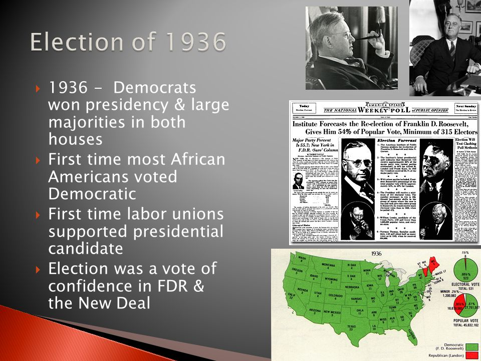 Election of 1936 1936 - Democrats won presidency & large majorities in both houses. First time most African Americans voted Democratic.