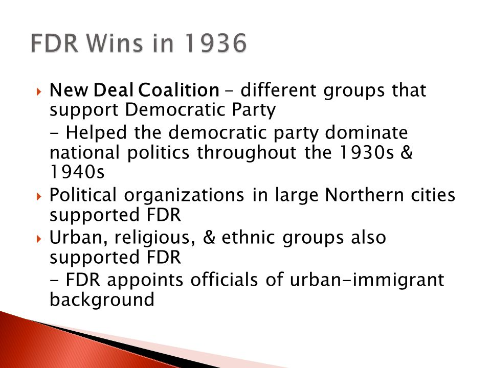FDR Wins in 1936 New Deal Coalition - different groups that support Democratic Party.
