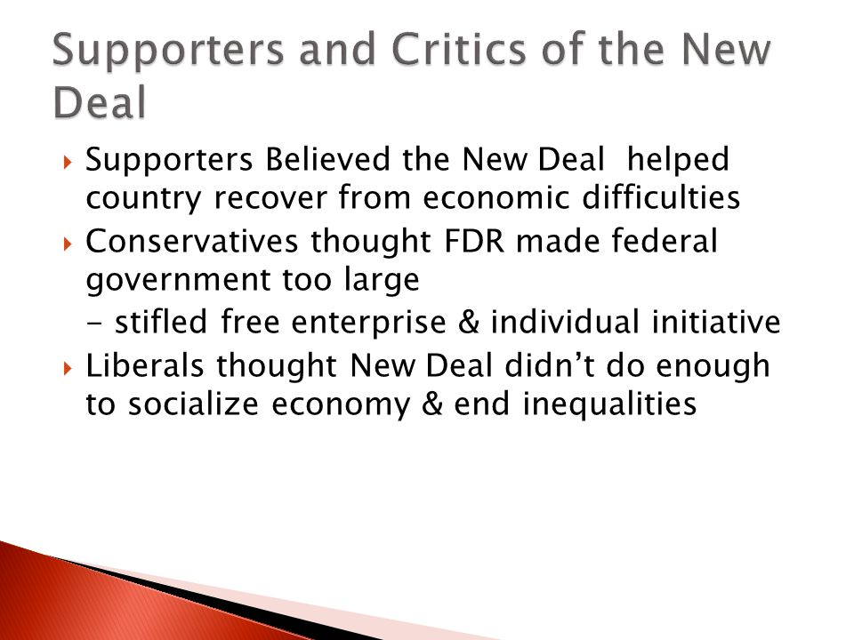 Supporters and Critics of the New Deal