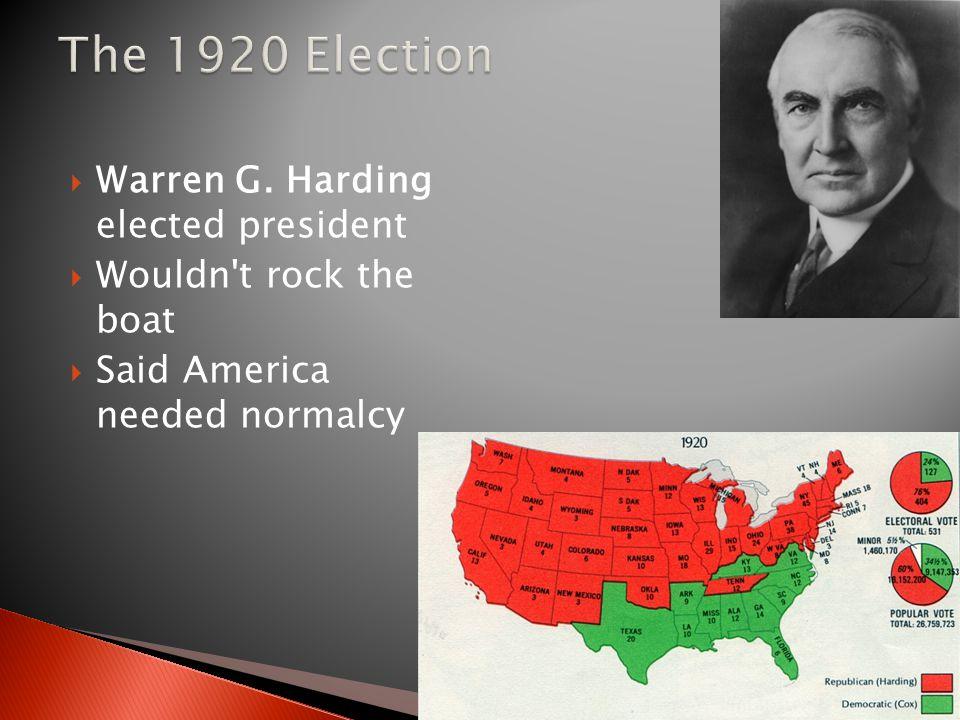 The 1920 Election Warren G. Harding elected president