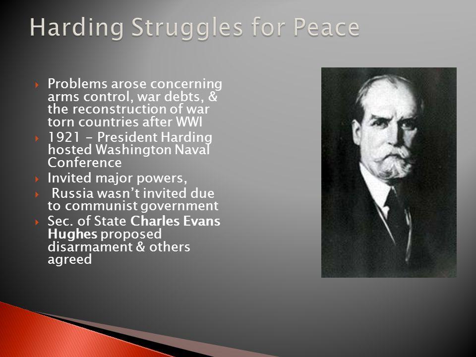 Harding Struggles for Peace