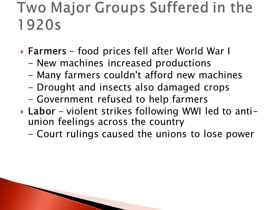 Two Major Groups Suffered in the 1920s