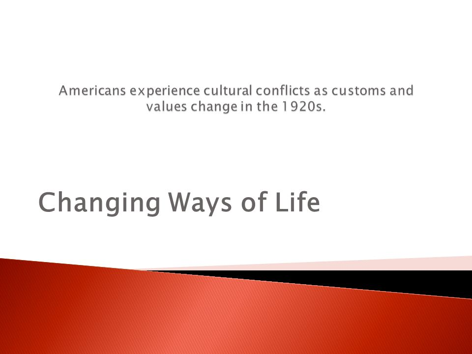 Americans experience cultural conflicts as customs and values change in the 1920s.