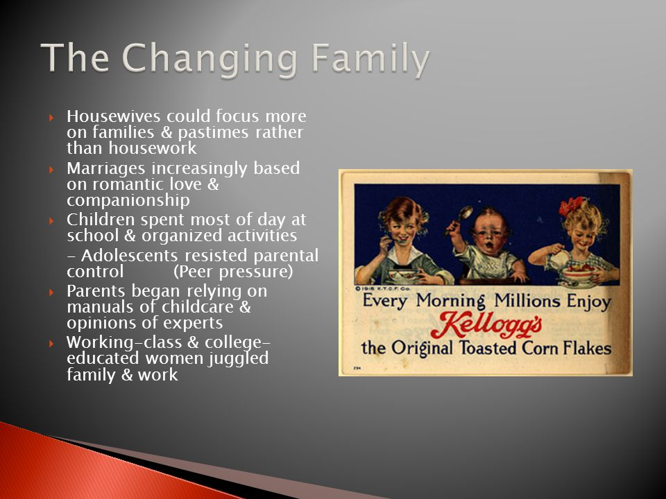 The Changing Family Housewives could focus more on families & pastimes rather than housework.