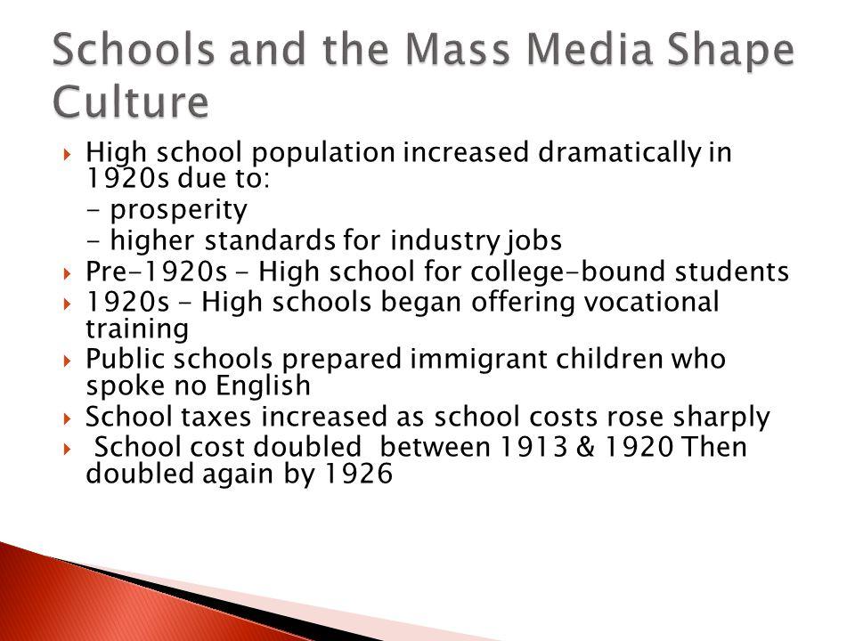 Schools and the Mass Media Shape Culture