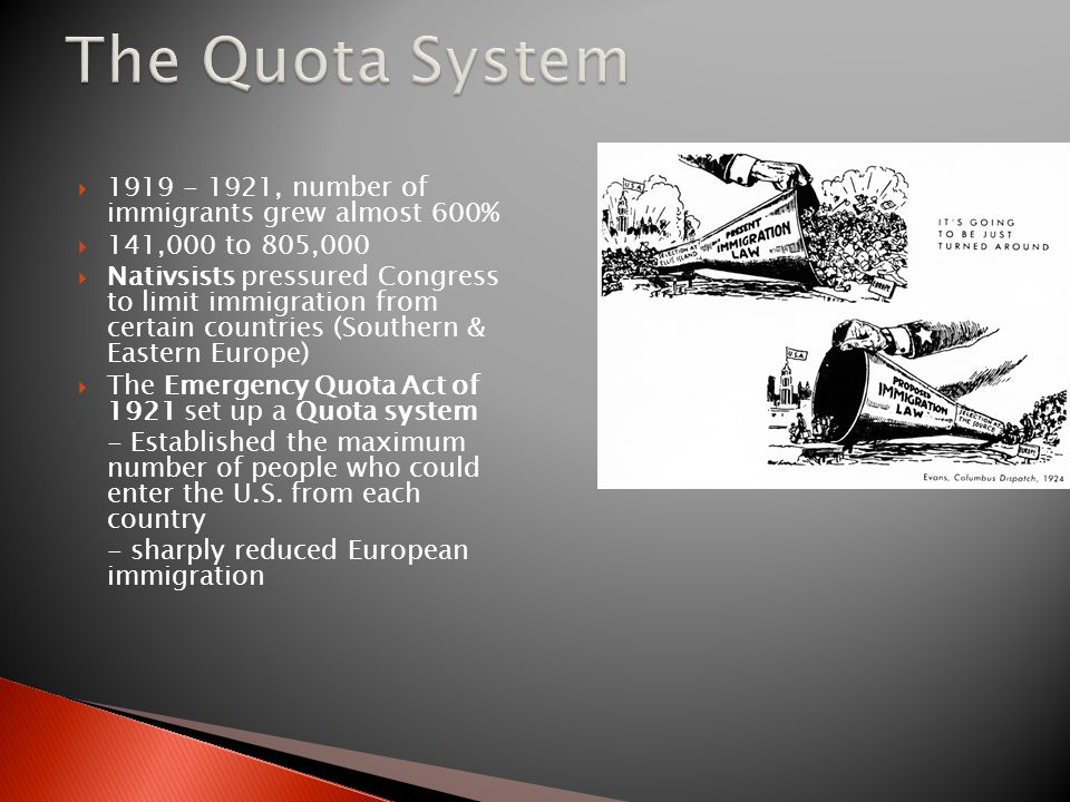 The Quota System 1919 - 1921, number of immigrants grew almost 600%