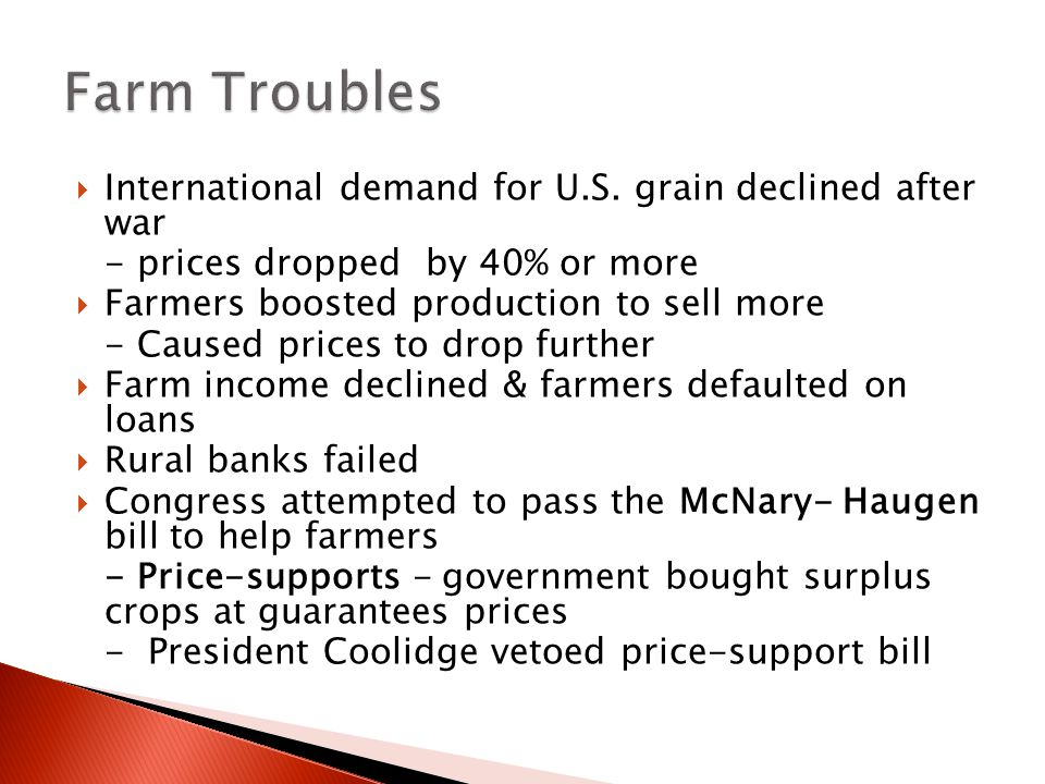Farm Troubles International demand for U.S. grain declined after war