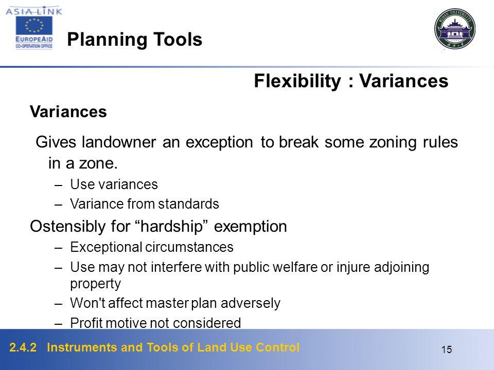 Flexibility : Variances