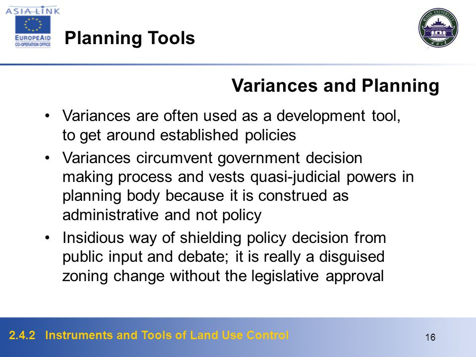 Variances and Planning