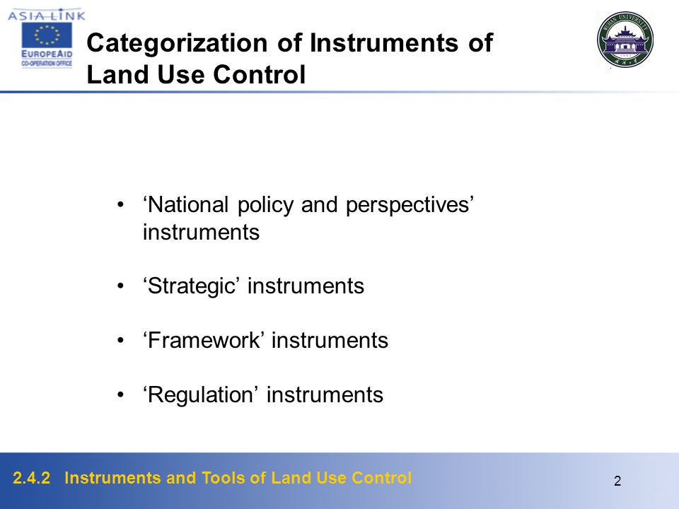 Categorization of Instruments of Land Use Control