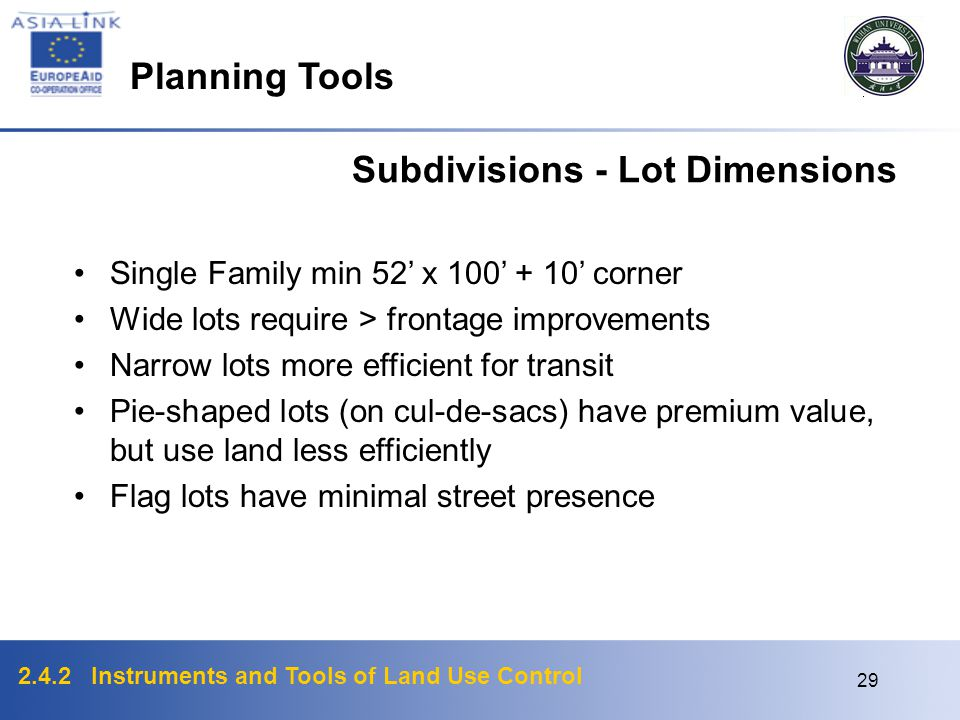 Subdivisions - Lot Dimensions