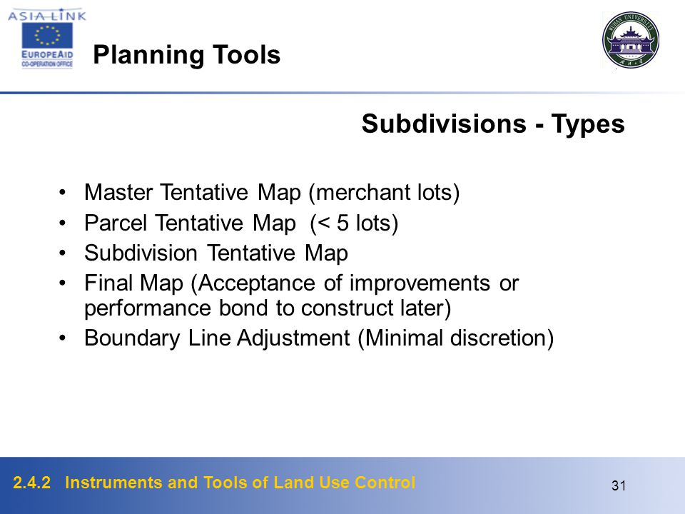 Planning Tools Subdivisions - Types