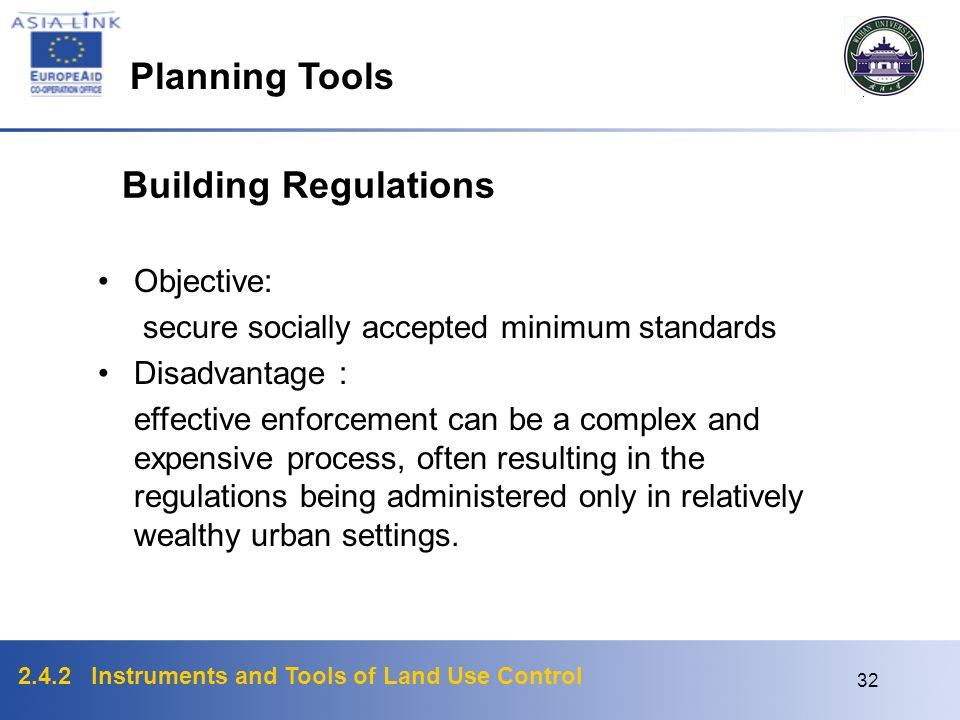 Planning Tools Building Regulations Objective: