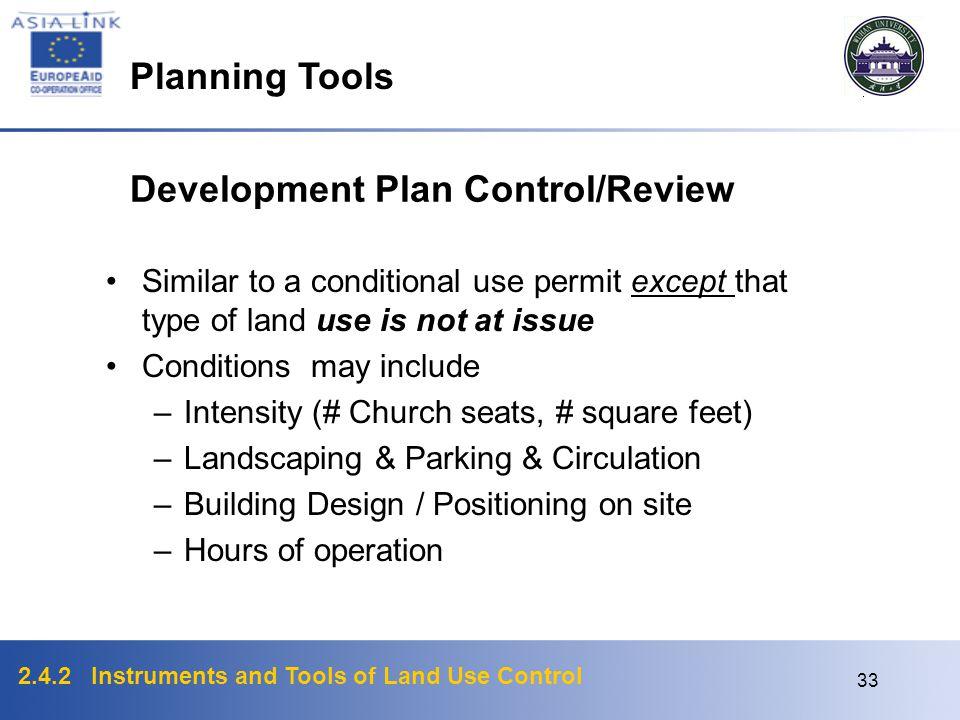 Development Plan Control/Review