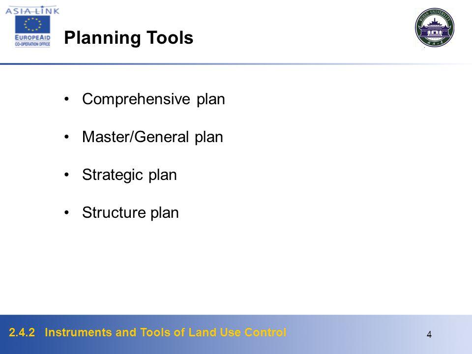 Planning Tools Comprehensive plan Master/General plan Strategic plan