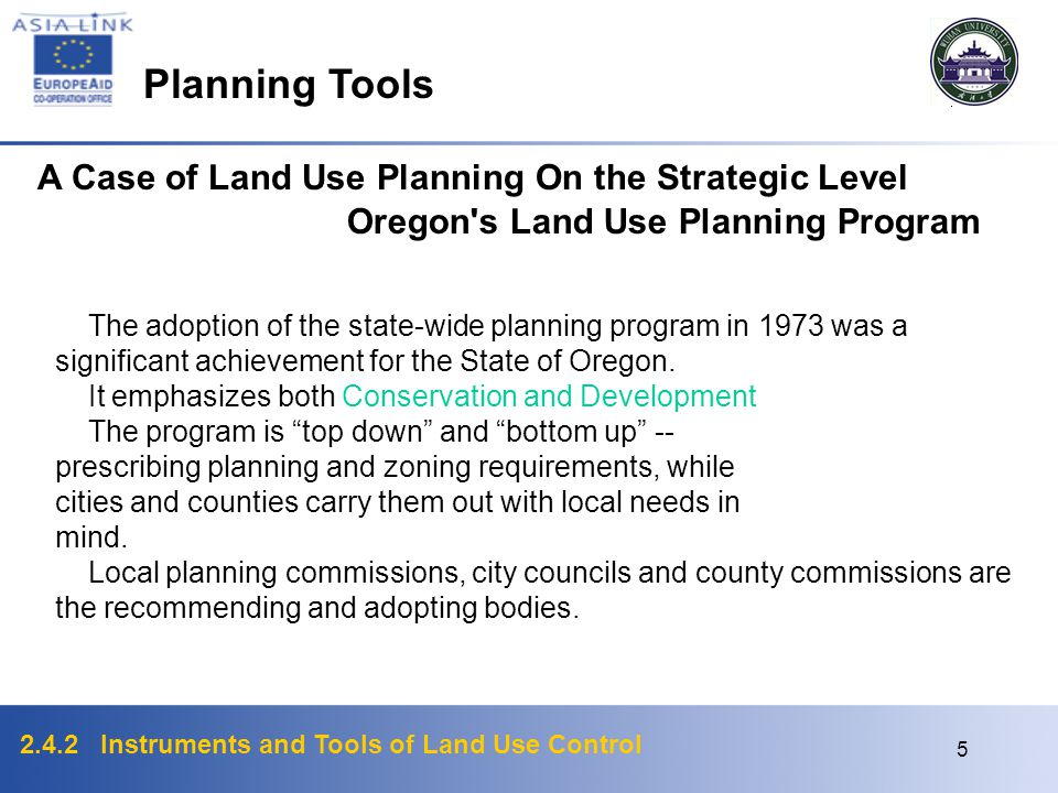 Planning Tools A Case of Land Use Planning On the Strategic Level