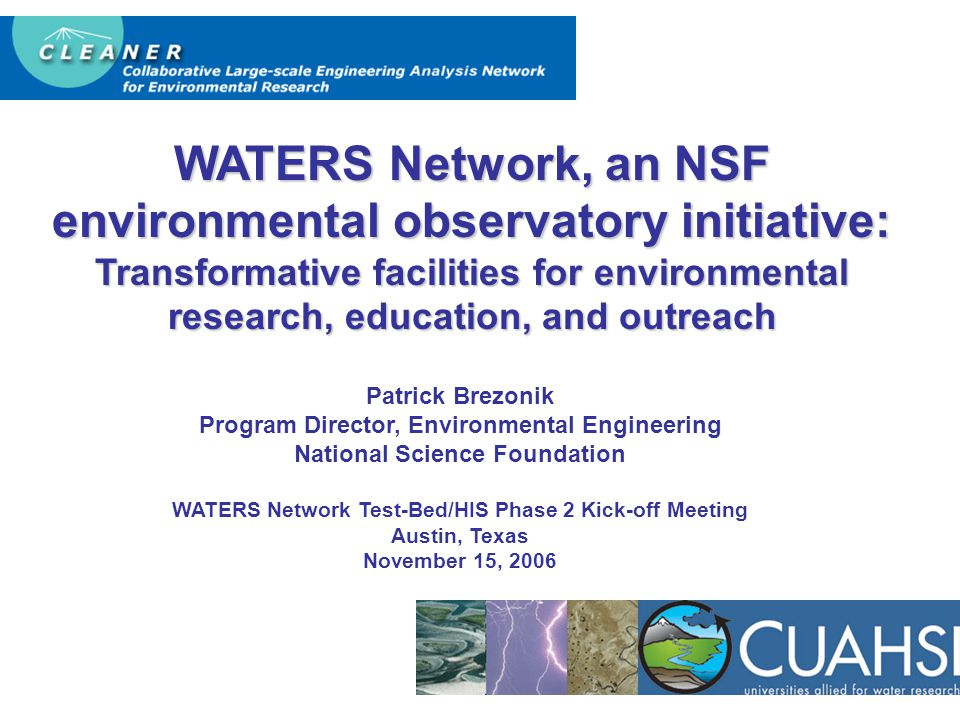 WATERS Network, an NSF environmental observatory initiative: Transformative facilities for environmental research, education, and outreach