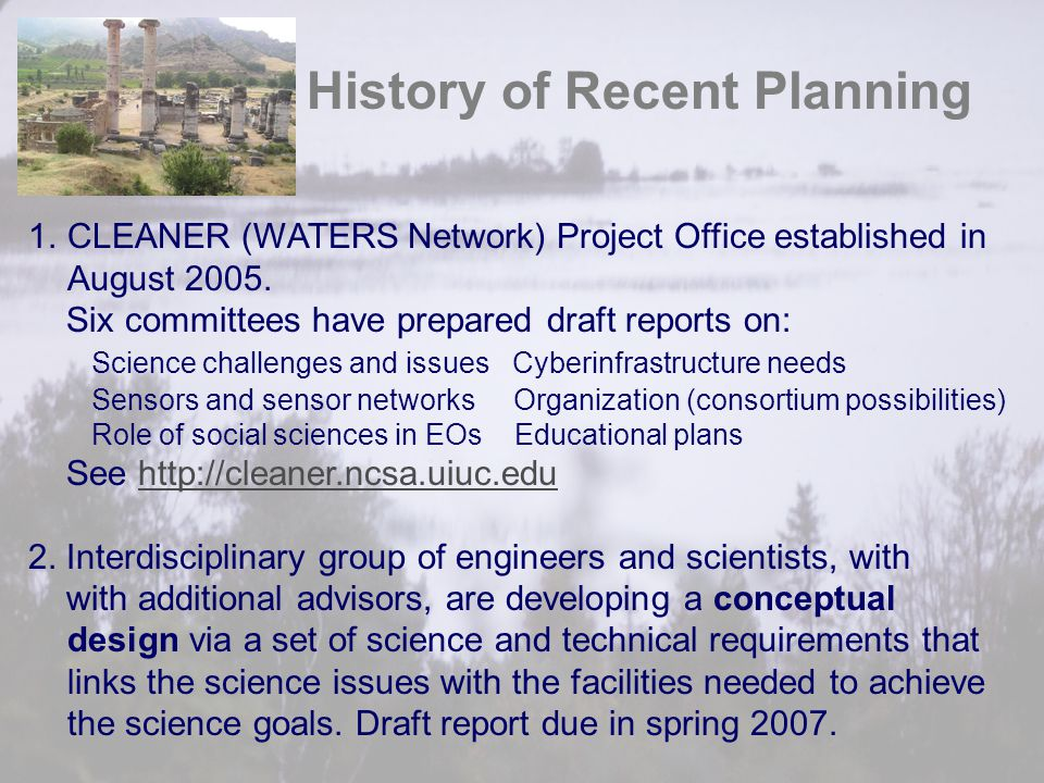 History of Recent Planning