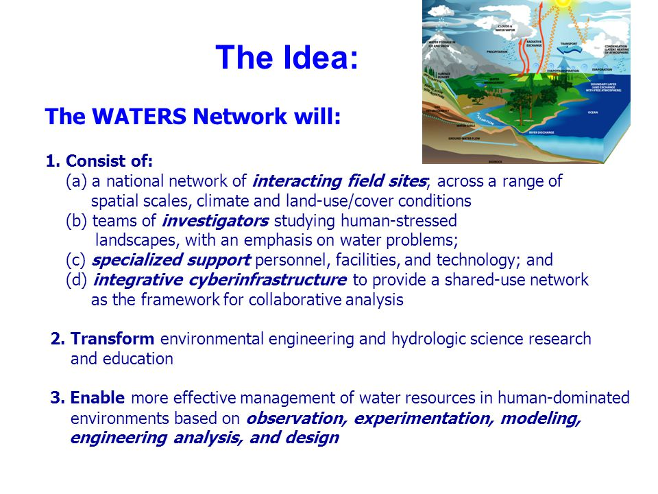 The Idea: The WATERS Network will: 1. Consist of: