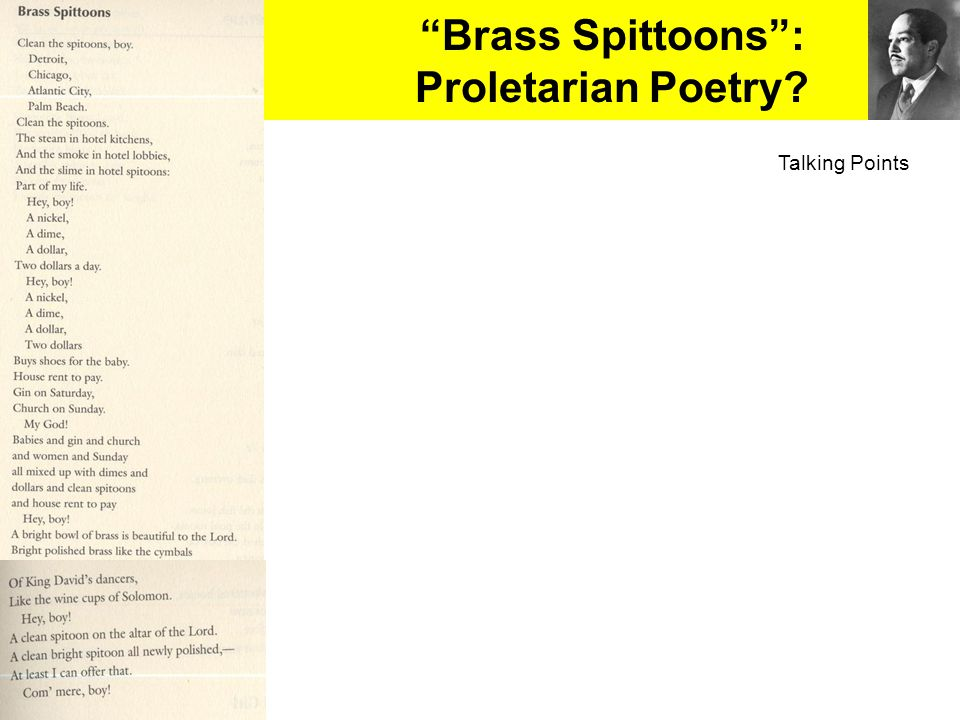 Brass Spittoons : Proletarian Poetry