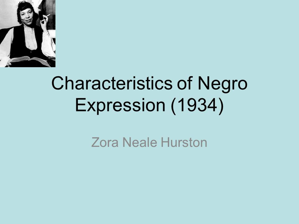 Characteristics of Negro Expression (1934)