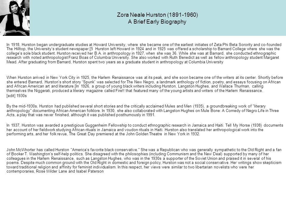 Zora Neale Hurston (1891-1960) A Brief Early Biography