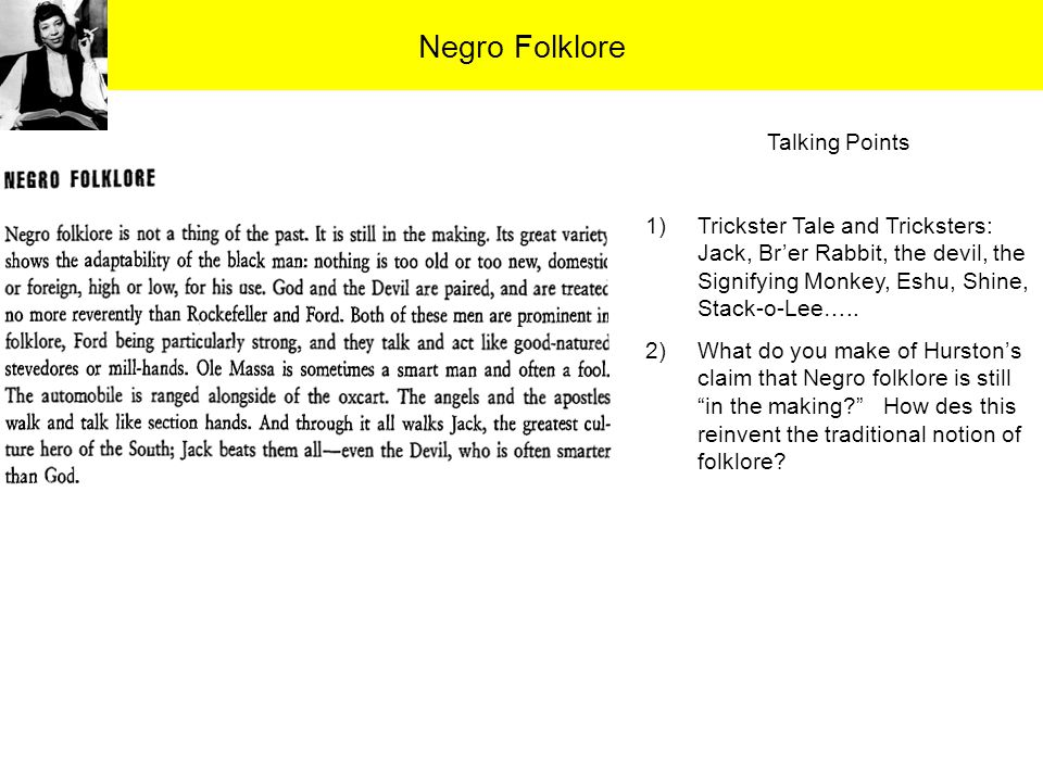 Negro Folklore Talking Points