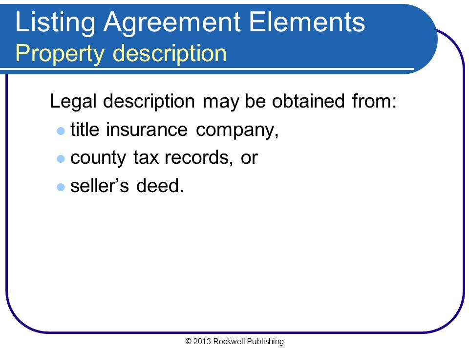 Listing Agreement Elements Property description