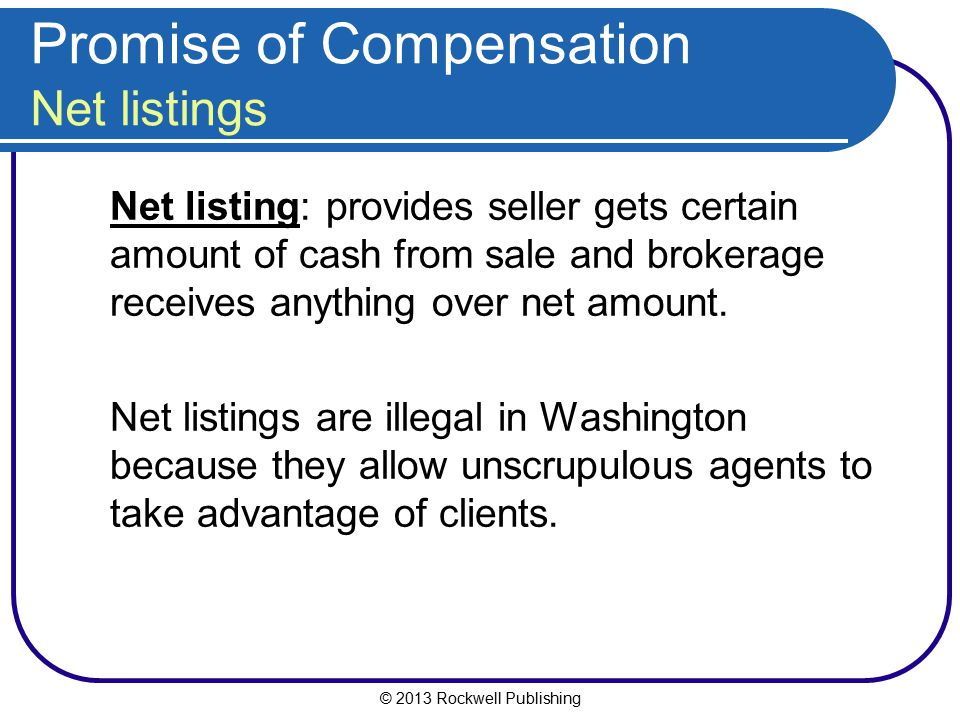 Promise of Compensation Net listings