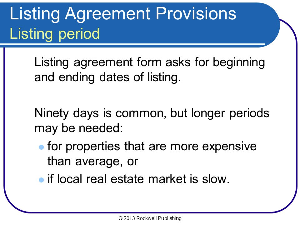 Listing Agreement Provisions Listing period