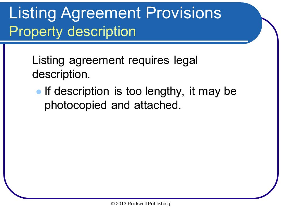 Listing Agreement Provisions Property description