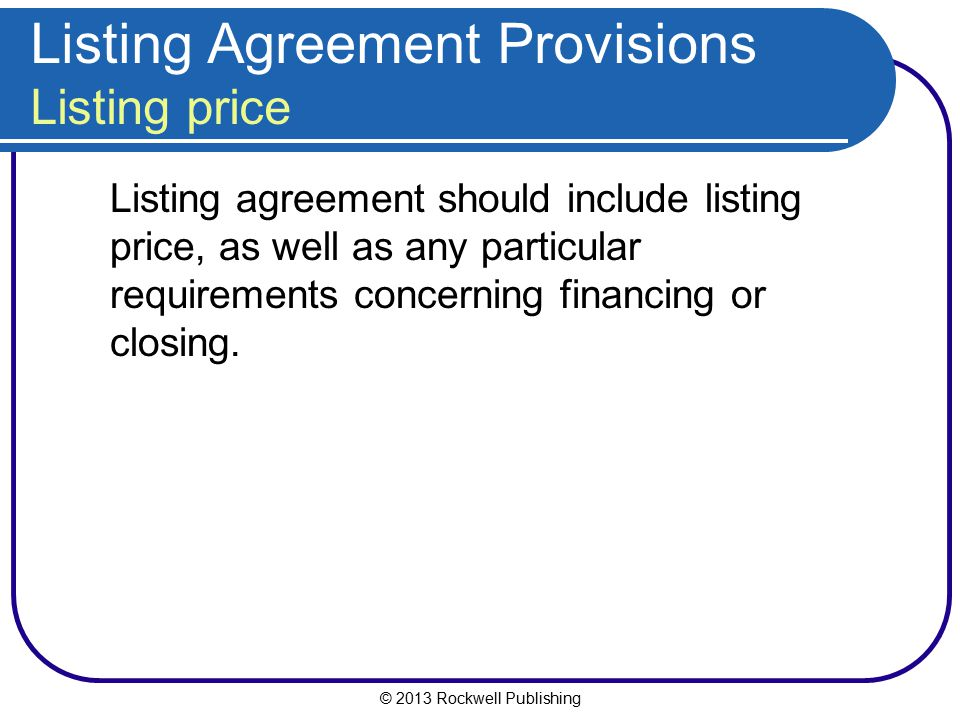 Listing Agreement Provisions Listing price