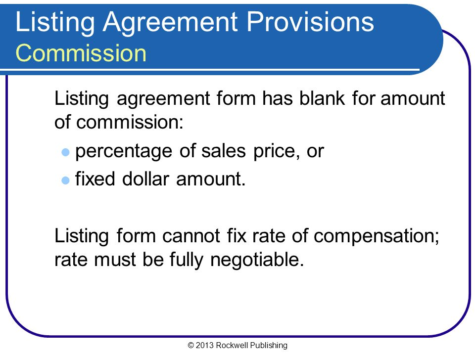 Listing Agreement Provisions Commission