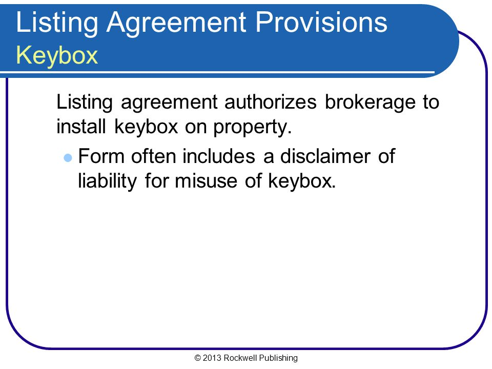 Listing Agreement Provisions Keybox