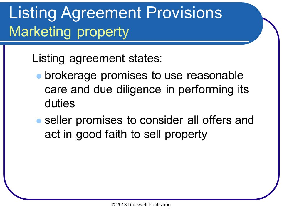 Listing Agreement Provisions Marketing property