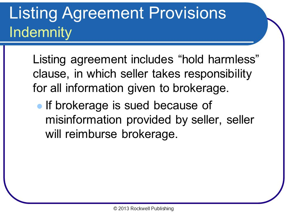 Listing Agreement Provisions Indemnity