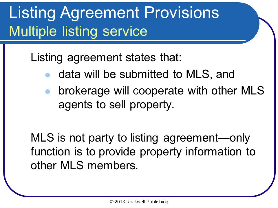Listing Agreement Provisions Multiple listing service